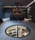 White Spiral Cellar and Hinged Round Glass Door Kitchen Architecture London 02