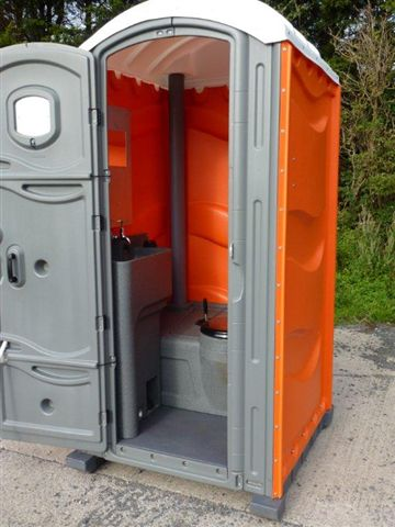 Open Door of a Portable Toilet from Griffin Toilet Hire