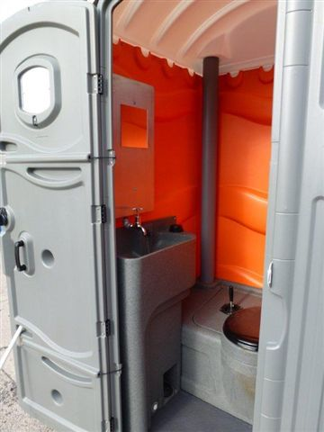 View of Toilet and Sink from a Portable Toilet from Griffin Toilet Hire