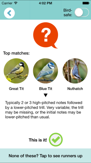 Chirpomatic results screen