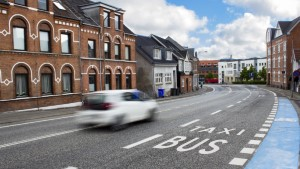Bus and Taxi (Vejle Denmark) (retouched)