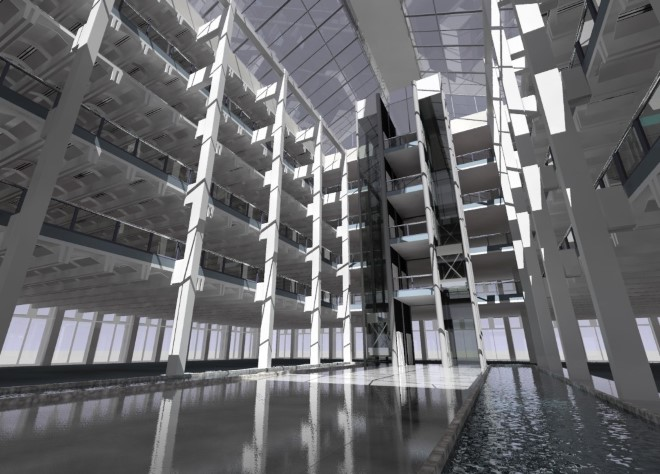 A daylight simulation of an atrium designed by Foggo Arch