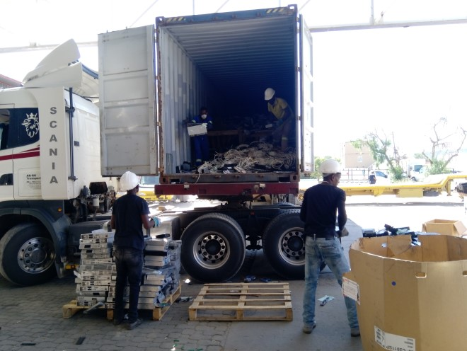 Truck with e-waste from Zambia